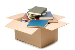 Het vakje en de boeken van het karton Stock Afbeelding