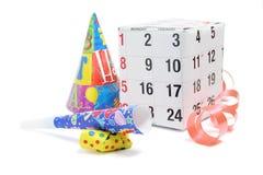 Het Vakje van de gift met de Gunsten van de Pagina en van de Partij van de Kalender stock foto