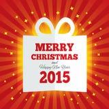 Het vakje van de Kerstmisgift sneed het document Nieuw jaar 2015 Stock Fotografie