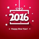 Het vakje van de Witboekgift met de kaart van de 2016 Nieuwjaargroet Royalty-vrije Stock Foto