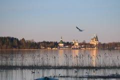 Het Valdayskoe-Meer met het Klooster van Valday Iversky Royalty-vrije Stock Foto's