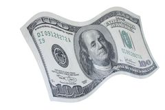 Het vallen onderaan 100 dollarnota Royalty-vrije Stock Foto's