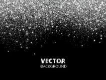 Het vallen schittert confettien Vector zilveren stof, explosie op zwarte achtergrond Het fonkelen schittert grens, feestelijk kad vector illustratie