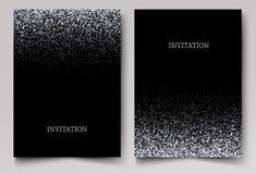 Het vallen schittert confettien Vector zilveren stof, explosie op zwarte achtergrond Het fonkelen schittert grens, feestelijk kad stock illustratie