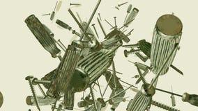 Het vallen schroevedraaiers en schroeven op wit stock video