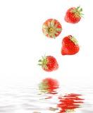 Het vallen van aardbeien stock afbeelding
