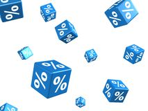 Het vallen van blauwe kubussen met percenten ondertekent op wit Stock Afbeeldingen