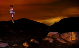 Het vallen van de avond bij de Schuilplaats Omu Stock Afbeelding