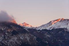 Het vallen van de avond in de Pyreneeën Stock Afbeeldingen