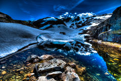 Het vallen van de avond op Gletsjer Royalty-vrije Stock Foto