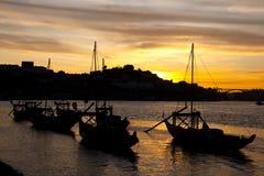 Het vallen van de avond in Porto Royalty-vrije Stock Foto
