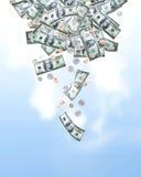 Het vallen van het geld Stock Foto's