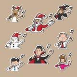 Het van bedrijfs Kerstmishalloween mensen zingen Stock Afbeeldingen