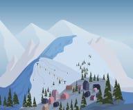 Het van brandstof voorzien van de benzinepomp Mooi landschap met bergen, huizen, hotels, sparren en skilift vector illustratie