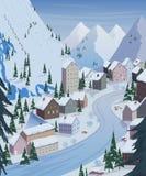 Het van brandstof voorzien van de benzinepomp Mooie landschappen met bergen, huizen, hotels, sparren en skilift royalty-vrije illustratie