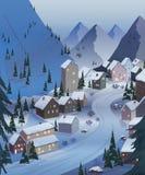 Het van brandstof voorzien van de benzinepomp Mooie landschappen met bergen, huizen, hotels, sparren en skilift De lampen en de a stock illustratie