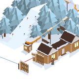 Het van brandstof voorzien van de benzinepomp Berglandschappen Vector isometrische illustraties Stock Foto