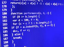 Het van de bron programmeringscodage codescherm Stock Foto's