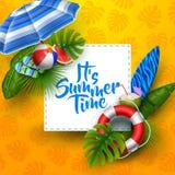 Het van de de zomertijd van ` s de bannerontwerp met wit vierkant voor tekst en strandelementen royalty-vrije illustratie