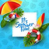 Het van de de zomertijd van ` s de bannerontwerp met wit vierkant voor tekst en strandelementen op blauwe achtergrond vector illustratie