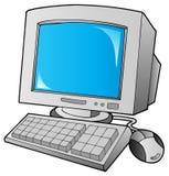 Het van het beeldverhaal bureaucomputer Stock Afbeelding
