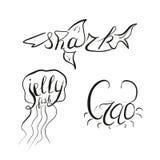 Het van letters voorzien de krab van de haaigelei Stock Foto's
