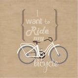 Het van letters voorzien en fietsen Stock Illustratie