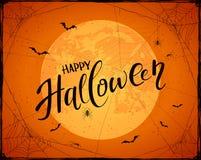 Het van letters voorzien Gelukkig Halloween op oranje grungeachtergrond met Maan stock illustratie