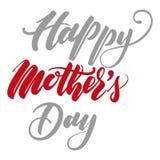 Het van letters voorzien Gelukkige Moeder` s Dag voor Groetkaart Royalty-vrije Stock Afbeelding