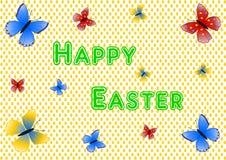 Het van letters voorzien Gelukkige Pasen met kleurrijke vlinders Royalty-vrije Stock Foto