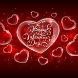 Het van letters voorzien Gelukkige Valentijnskaartendag op schitterend hart Royalty-vrije Stock Foto