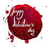 Het van letters voorzien Gelukkige Valentine ` s dag op waterverfvlekken en hand getrokken abstract patroon Stock Afbeeldingen
