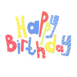 Het van letters voorzien gelukkige Verjaardag De kaart van de gelukwens Royalty-vrije Stock Afbeeldingen