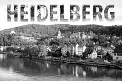 Het Van letters voorzien van Heidelberg in Zwart-wit stock foto