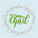 Het van letters voorzien van Hello April Royalty-vrije Stock Afbeeldingen