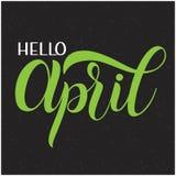Het van letters voorzien van Hello April Stock Foto