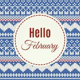 Het van letters voorzien van Hello Februari op gebreide achtergrond Royalty-vrije Stock Foto's