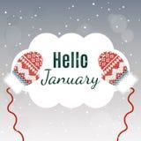 Het van letters voorzien van Hello Januari op de winterachtergrond met vuisthandschoenen Stock Afbeeldingen