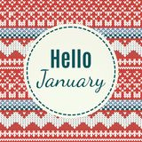 Het van letters voorzien van Hello Januari op gebreide achtergrond Royalty-vrije Stock Fotografie