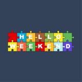 Het van letters voorzien Hello Weekend met de achtergrond van het raadsel Stock Illustratie