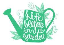 Het van letters voorzien - het Leven begon in een tuin Stock Afbeelding