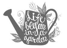 Het van letters voorzien - het Leven begon in een tuin Vectorillustratie met gieter Stock Foto's