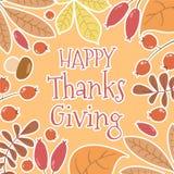 Het van letters voorzien kaart` Gelukkige Dankzegging ` stock foto