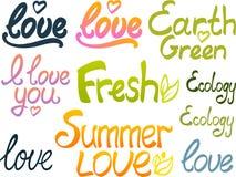 Het van letters voorzien: liefde, vers, de zomerliefde Stock Afbeeldingen