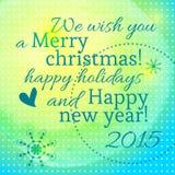 Het van letters voorzien met het nieuwe jaar en vrolijke Kerstmis Royalty-vrije Stock Fotografie