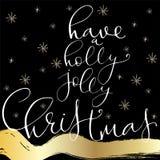 Het van letters voorzien met Vrolijke Kerstmis Stock Foto