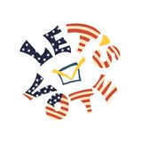 Het van letters voorzien in nationale kleuren van de vlag van de V.S. Vraag aan stem stock illustratie