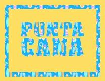 Het van letters voorzien van Puntacana op gele backround Vector tropische brieven met kleurrijke strandpictogrammen op lichtblauw royalty-vrije illustratie