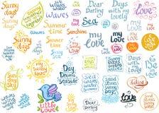 Het van letters voorzien reeks: zonnige liefde, de zomer Royalty-vrije Stock Afbeeldingen