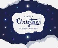 Het van letters voorzien teken vrolijke Kerstmis en gelukkig nieuw jaar stock illustratie